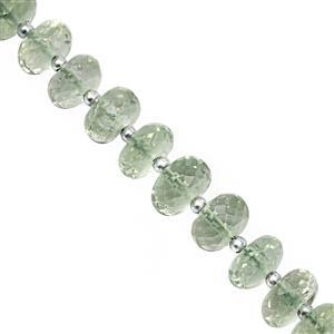 70cts Green Amethyst Center Drill Faceted Rondelle Approx 6.50x3 to 8.50x5mm, 21cm Strand with Spacers
