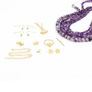 Forbidden Fruits: Gold Plated Hibiscus Findings Pack, Amethyst Nuggets & Rounds
