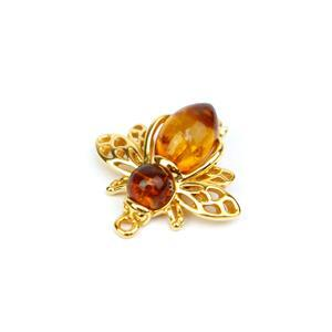 Baltic Cognac Amber Gold Plated Sterling Silver Bee Connector Approx 20x19mm