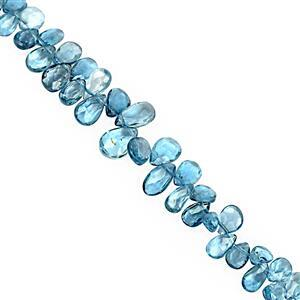 20cts London Blue Topaz Top Side Drill Faceted Pear Approx 4x2 to 6.5x4mm, 9cm Strand