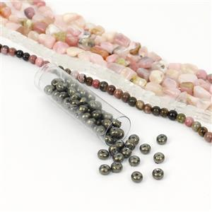 Olive Blush; Pink Opal Small Nuggets, Dark Olive Baroque Pearl 6/0s, Clear Quartz Cubes with Rhodonite Rounds