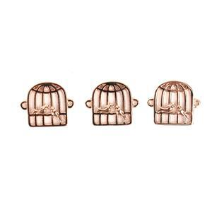 Rose Gold Plated 925 Sterling Silver Love Bird Cage Connectors Approx 12x14mm 3pcs