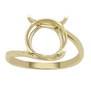 9ct Gold Round Ring Mount (To fit 11x11mm gemstone)