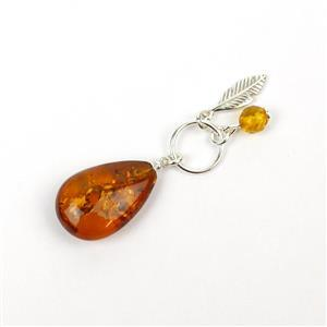Baltic Cognac Amber Sterling Silver Pendant, Approx. 38x11mm