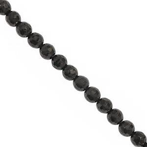 25cts Black Jet Faceted Round Approx 6mm, 20cm Strand