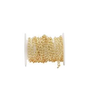 Gold Plated Base Metal Curb Chain, Approx. 3.5x2.5mm (1m)