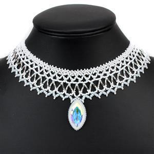 Crystal Bride; Miyuki SeedBeads, bugle Beads, Swarovski Crystal AB Navette, 925 SS Findings