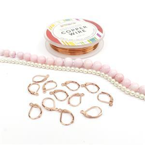 Milkshake; R/G Lever Back Earrings (6 pairs) 67cts Pink Opal, White Shell Pearl 4mm & Wire