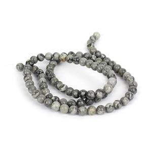 40cts Grey Picture Jasper Plain Rounds Approx 4mm, 38cm strand