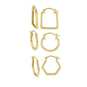 Gold Plated 925 Sterling Silver Hoop Earrings, 3 Pairs (Round: 16mm, Hexagon: 20mm, Square: 20mm)