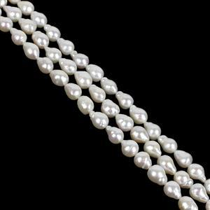 3 x 38cm Strand White Freshwater Cultured Drop Pearls Approx 7-8mm