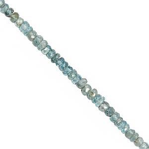 TRADE SHOW DEAL - 28cts Blue Zircon Faceted Rondelle Approx 3x1 to 4x2.5mm, 19cm Strand