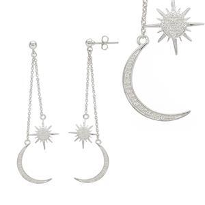 925 Sterling Silver Celestial Earrings With Zircon Detail Round 1mm