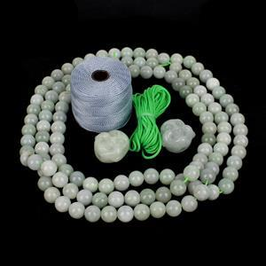 Sea Blue Jade; Jadeite Buddha Heads, Jadeite Rounds & Cord