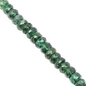 38cts Emerald Colour Apatite Faceted Rondelle Approx 2.5x1 to 5.5x2.5mm, 19cm Strand