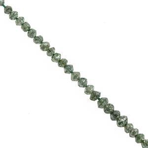 1.90cts Teal Green Diamond Graduated Faceted Rondelle Approx 1.25x1 to 2x1.5mm, 11cm Strand with Spacers