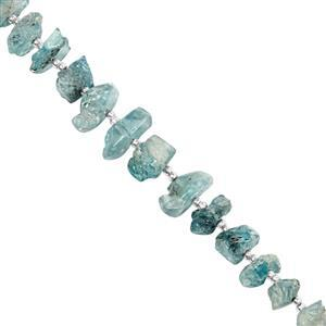 65cts Blue Zircon Graduated Raw Nuggets Approx 5.5x3.5 to 9.5x6.5mm, 10cm Strand with Spcaers