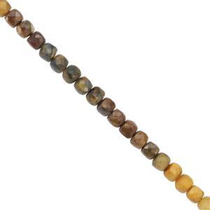 45cts Multi Pietersite Faceted Cube Approx 4mm 30cms Strand