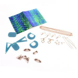 Tempest Earring Collection: Turquoise & Rose Gold Acrylic Pieces, Synth Leather & Findings