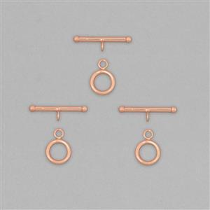 Rose Gold Plated 925 Sterling Silver Toggle Clasp T-Bar Approx 22mm and Round Approx 10mm (3pcs)