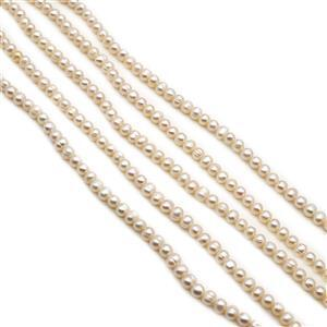 5 x 38cm Strands White Freshwater Cultured Potato Pearls Approx 6-7mm