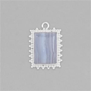 925 Sterling Silver Gemset Pendant Approx 31x23mm Inc. 12cts Blue Agate Rectangle Cabochon Approx 20x15mm