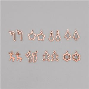 Christmas Charm Collection: Rose Gold Plated Brass Charms In 8 Styles (16pcs)