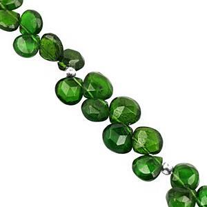 32cts Chrome Diopside Top Side Drill Faceted Heart Approx 4 to 6mm, 17cm Strand with Spacers