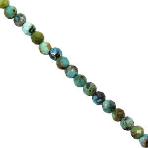 7cts Turquoise Faceted Round Approx 2mm 30cm Strand