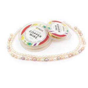 Pearls Galore! White rice pearls & multi-colour rice pearls & gold colour copper wires