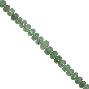 92ctsGreen Strawberry Quartz Graduated Faceted Rondelle Approx 6x4 to 10x6mm, 20cm Strand