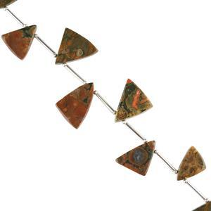 85cts Rhyolite Graduated Plain Triangular Slices Approx 14x11 to 20x17mm, 14cm Strand.