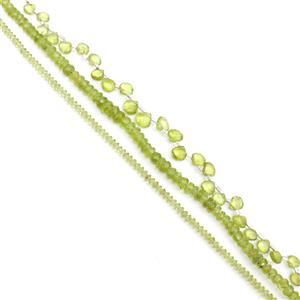 Triple Trouble Peridot Bundle! inc; Saucers, Rondelles and Faceted Hearts!