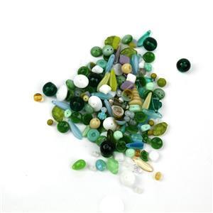 Glass Bead Scoop, Green Mix (100g)