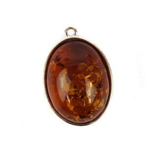 Baltic Cognac Amber Oval Cabochon Pendant with Sterling Silver Element Approx 20x13mm