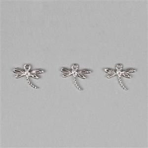 925 Sterling Silver Dragonfly Charms Approx 12x11mm (3pcs/set)