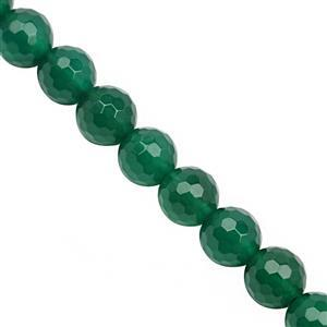 85cts Green Onyx Faceted Round Approx 8mm, 20cm Strand