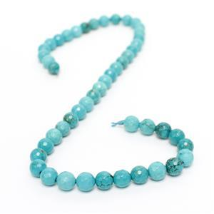 150cts Dyed Blue-Green Magnesite Faceted Rounds Approx 8mm, 38cm Strand