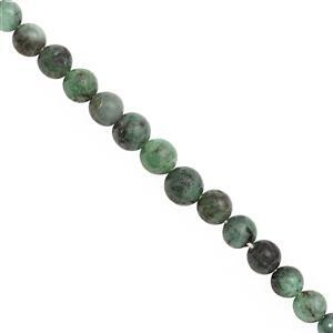 70cts Emerald Graduated Plain Round Approx 4 to 6mm, 39cm Strand