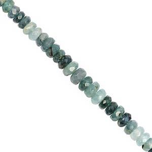 35cts Grandidierite Graduated Faceted Rondelle Approx 3.5x1.5 to 5.5x3mm, 18cm Strand