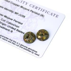 9.5cts Copper Mojave Peridot 12x12mm Round Pack of 2 (R)