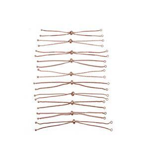 Rose Gold Plated Base Metal Slider Bracelet Bundle, Approx. 9.4