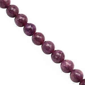 145cts Lepidolite Smooth Round Approx 8mm, 30cm Strand