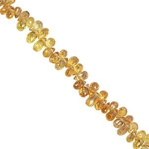 15cts Yellow Songea Sapphire Graduated Faceted Drop Approx 4x1.5 to 5x2.5mm, 10cm Strand