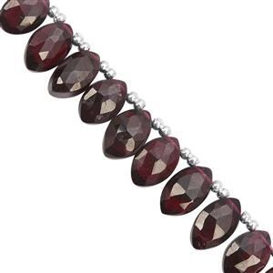 46Ct Rhodolite Garnet Top Side Drill Graduated Faceted Marquise Approx 8x5 to 10x6.3mm, 19cm Strand With Spacers