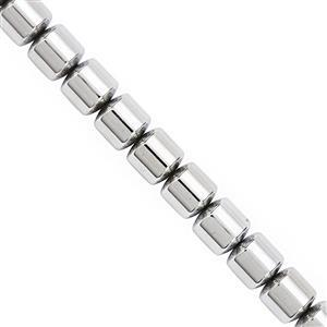 325cts Silver Color Coated Hematite Smooth Drum Approx 9.50mm, 20cm Strand