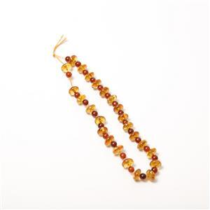 Baltic Cognac Amber Saucers (8mm) with Cherry Amber Rounds (4mm), 20cm Strand
