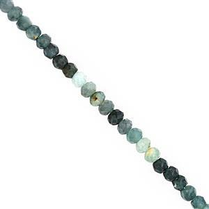 24cts Grandidierite Faceted Rondelle Approx 2.5x3.5 to 3.5x4.5mm, 20cm Strand