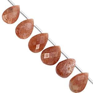 88cts Sunstone Top Side Drill Graduated Faceted Pear Approx 13x8 to 17x12mm, 19cm Strand with Spacers