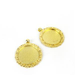 Gold Colour Bezel Pendant Flowery Oval Approx 35mm (Set of 2)
